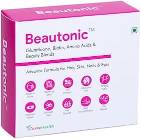 Curae Health BEAUTONIC Advance Formula for HAIR, SKIN, Nails & Eyes. Glutathione, Biotin with Beauty Blends. 60 Vegan Tablets
