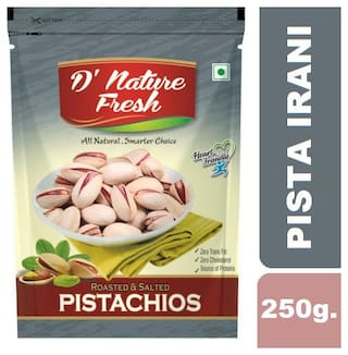 D'Nature Fresh Roasted Salted Pistachios (Irani) 250Gms Pack Of 1