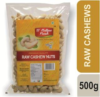 D'nature Fresh Raw Cashews Pouch, 500 g