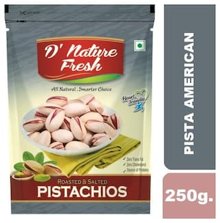 D'NATURE FRESH ROASTED SALTED PISTACHIOS (AMERICAN) 250GMS (PACK OF 1)