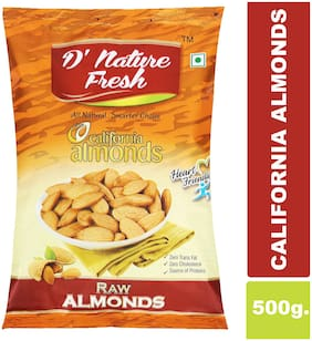 D'NATURE FRESH RAW CALIFORNIA ALMONDS 500GMS(PACK OF 1)