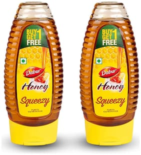 Dabur 100% Pure Honey Squeezy, 400 g (Buy 1 Get 1 Free)