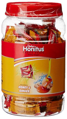 Dabur Honitus Honey Ginger Cough Drops Jar 100 Count