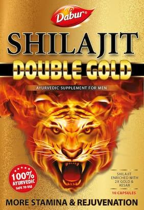 Dabur Shilajit Double Gold Premium Ayurvedic Supplement for Men (10 Capsules )