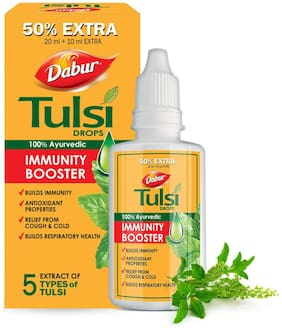 Dabur Tulsi Drops- 50% Extra: Concentrated Extract of 5 Rare Tulsi for Natural Immunity Boosting & Cough and Cold Relief: -30ml(Pack of 1)