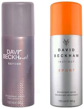 David Beckham Beyond Sport Deodorant Spray - For Men (300 ml Pack of 2)