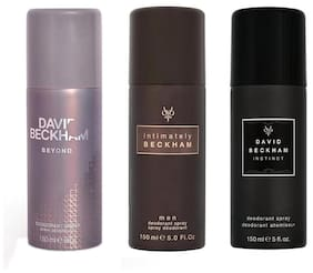 David Beckham Beyond Intimately Instinct Deodorant Spray - For Men (450 ml Pack of 3)