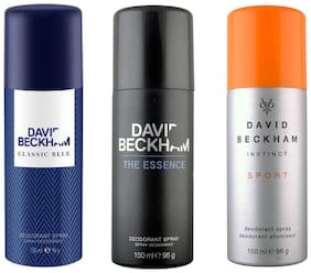 David Beckham Sport Classic Blue The Essence Deodorant Spray - For Men (450 Ml Pack of 3)