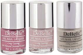 DeBelle Gel Nail Polish Combo Pack of 3 Laura Aura, Vintage Frost, Natural Blush(24ml)