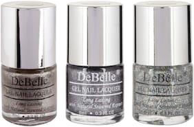 DeBelle Gel Nail Lacquer combo of 3 Sparkling Dust, Grey Glitteratti, Shimmer Top Coat (24ml)
