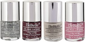 DeBelle Gel Nail Polish Combo Pack of 4  Shimmer Top Coat, Glamorous Garnet, Natural Blush, Laura Aura(32ml)