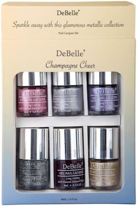 DeBelle Champagne Cheer Nail Polish gift set of 6, Chrome Glaze, Chrome Silver, Chrome Wine, Shimmer Top Coat, Glamorous Garnet,Chrome Gold, (48ml)