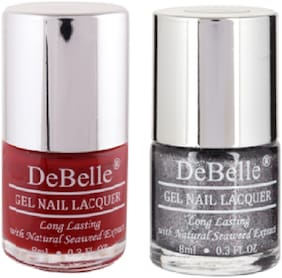 DeBelle Gel Nail Lacquer Combo Pack of 2 Moulin Rouge, Grey Glitteratti(16ml)