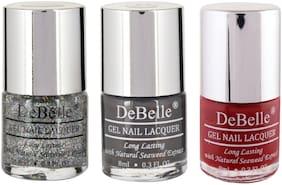 DeBelle Gel Nail Polish Combo Pack of 3 Shimmer top coat, Copper Glaze, Moulin Rouge(24ml)