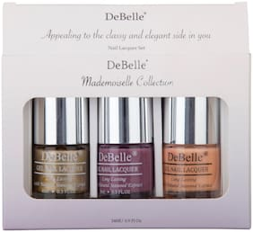 Debelle Nail Lacquer Set Mademoiselle Combo Pack of 3 Chrome Gold , Laura Aura, Peachy Passion(24ml)