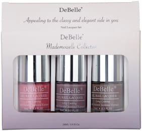 Debelle Nail Lacquer Set Mademoiselle  Combo Pack of 3 Milss Bliss,Vintage Forst, Coco Bean(24ml)