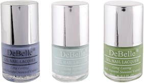 DeBelle Natural Gel Nail Polish Combo Pack of 3 Blueberry Bliss, MintAmour, Mystique Green(24ml)