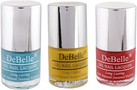DeBelle Natural Gel Nail Polish Combo Pack of 3 Royale Cockail, Caramellow Yellow, French Affair(24ml)