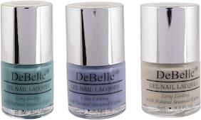 DeBelle Natural Gel Nail Polish Combo Pack of 3 Tahiti Teal,Blueberry Bliss, Natural Blush(24ml)