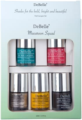 DeBelle Macaroon Squad Nail Polish gift set of 5, Royale Cocktail, Fuschia Rose , Sparkling Dust , Caramelo Yellow , Copper Glaze, (40ml)