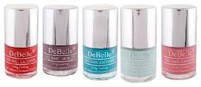 DeBelle Nail Polish Combo set of 5, Royale Cocktail, BeBe Kiss, Majestique Mauve,Mint Amour, French Affair(40ml)