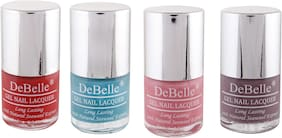 DeBelleGel Nail Polish Combo Pack of 4 Moulin Rouge, Royale Cockail,Miss Bliss, Majestique Mauve(32ml)