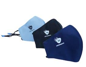 DEFEND99 Self Sanitizing 3 Layer Reusable Washable Adjustable Face Mask For Men Women (Pack Of 3)
