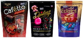 Derby Cafetto Darling Secret Assorted and Assorted Eclairs mix Fruit Candy candy Chocolate Toffee Pack For Family and Friends 190g x 1,125g x 1 and 180g x 1(Pack of 3)