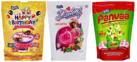 Derby Happy Birthday Velvetto Panvaa Tu Mix Fruit Candy lollipop Chocolate Toffee Pack For Family and Friends 215g x 2 and 190g x 1(Pack of 3)