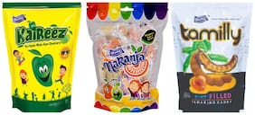 Derby Kaireez Naranja Tamilly (Kaccha Mango Orange ) Mix Fruit Candy Birthday Chocolate Toffee Pack For Family and Friends -215g (Pack of 3)