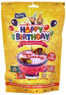 Derby Kaireez Naranja Happy Birthday Mix Fruit Candy candy Chocolate Toffee Pack For Family and Friends 215g x 2 and 190g x 1(Pack of 3)