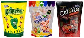 Derby Kaireez Naranja Cafetto mix Fruit Candy candy Chocolate Toffee Pack For Family and Friends 215g x 2 and 190g x 1(Pack of 3)