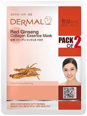 Dermal Korea Red Ginseng Collagen Essence Face Sheet Mask (Pack of 2)