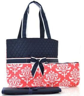 DESIGNER DIAPER BAG BabyTote BlackCoral Damask Floral (3) Piece Beautiful  NEW