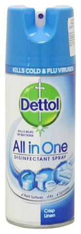 Dettol Disinfectant Spray - All In One Crisp Linen - Imported 400 Ml