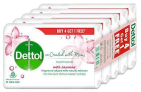 Dettol Jasmine Bathing Soap - Co-Created With Moms 125 g (Buy 4 Get 1 Free)