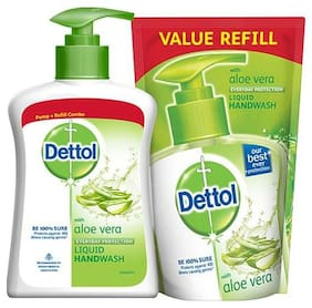 Dettol Pump + Refill Combo - Handwash Liquid  Aloe 200 ml (Pack of 2)