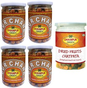 Dhampur Green Gur Chana 200g (Pack of 4) + Dried Mix Fruit Chatpata 200g