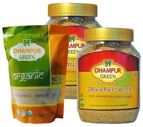 Dhampur Green Jaggery Powder, 1.4 kg + Organic White Sugar, 500g