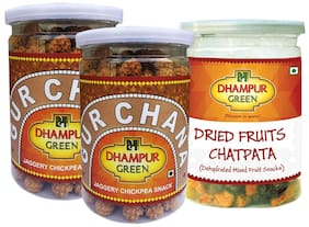 Dhampur Green Gur Chana 200 gm (Pack of 2) + Mix Fruit Chatpata 200 gm