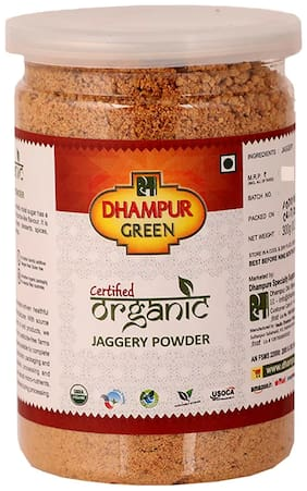 Dhampure Organic Jaggery Powder (Desi Shakkar) 300 gm White Sugar Cubes (Bulk Pack 12 Units)