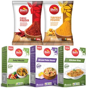 DHRUTI Chilli Powder, Turmeric Powder, Sabji Masala, Biryani Pulav And Kitchen King 100 g Each Pack of 5