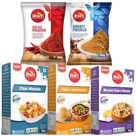 DHRUTI Chilli Powder, Garam Masala, Chat Masala, Channa/ Chole Masala And Briyani Pulav Masala 100 g Each Pack of 5