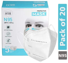 Digital hub DH Finest Cotton Reusable 5 Layered N95 Face Mask | CE, ISO, FDA and WHO-GMP Certified |White Colour | Pack of 20