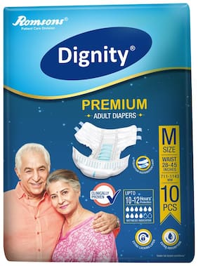 Dignity Premium Adult Diapers Medium 10 Pcs, Waist Size 28 - 45 , Pack of 1