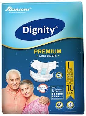 "Dignity Premium Adult Diaper Large 10 Pcs, Waist Size 38""- 54"", Pack of 1"