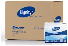 """Dignity Adult Underwear Style Diapers Large Extra Large 10 pcs, Waist Size 34""""-52"""", Pack of 12"""