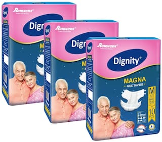 Dignity Magna Adult Diapers Medium, 10 pcs, Pack of 3, Waist Size 28- 45