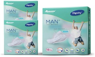 Dignity Man Light Incontinence Pad Medium Pack Of 3 (10 Pads Each)