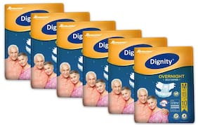 Dignity Overnight Adult Diapers Medium 10 pcs Waist Size 28- 45 Pack of 6